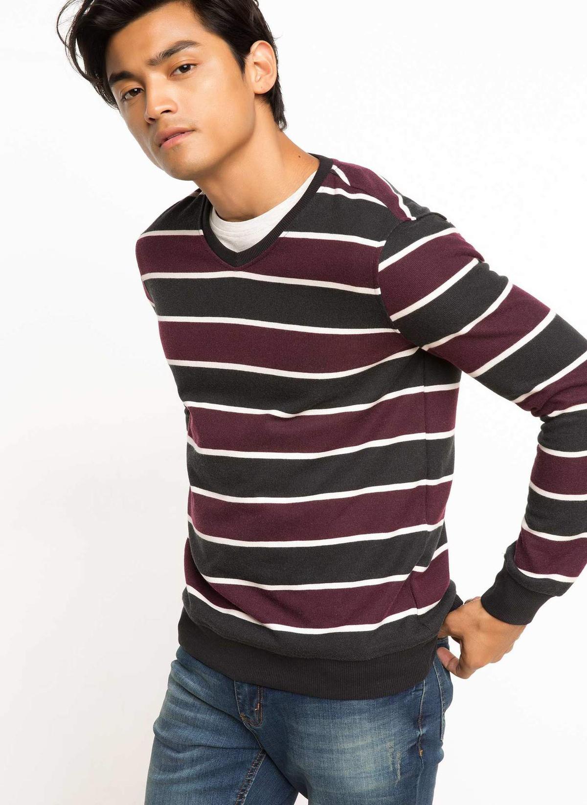 Defacto V Yaka Çizgili Sweatshirt H6993az17wnbk27 Sweatshirt – 69.99 TL